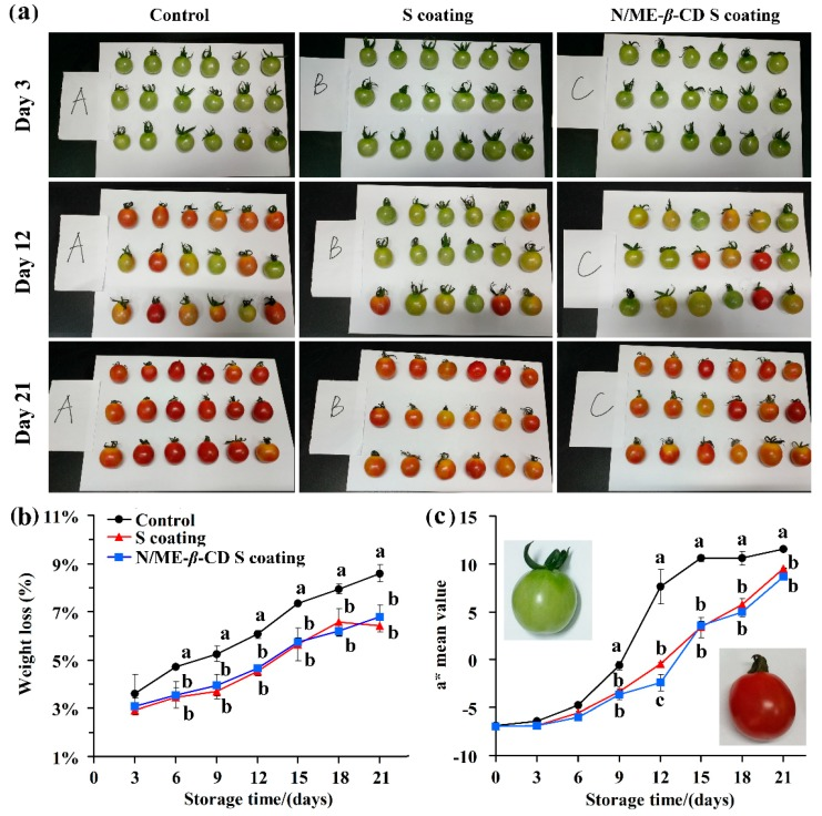 The selected appearance ( a ), weight loss ( b ), and color parameter a* value ( c ) of tomatoes from the control group, waxy corn starch-based coating (S coating) group, and natamycin/ME- β -CD incorporated waxy corn starch-based coating (N/ME- β -CD S coating) group at different storage times (days). The different lower-case letters at each time point indicate a significant difference at p