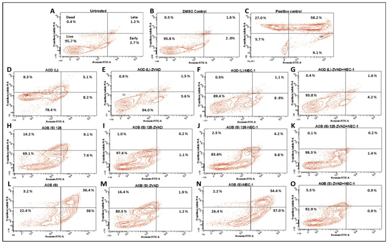 Annexin V-FITC/propidium iodide (PI) analysis of HeLa cells treated with 250 µg/mL of the A. orientalis dichloromethane leaf (AOD (L)) fraction or 125 and 250 µg/mL n-butanol stem (AOB (S)) fraction for 24 h. Samples: ( A ) Untreated; ( B ) DMSO control; ( C ) Positive control-treated; ( D ) 250 µg/mL AOD (L)-treated; ( E ) 250 µg/mL AOD (L)-treated cells pretreated with ZVAD, or ( F ) NEC-1, or ( G ) both; ( H ) 125 µg/mL AOB (S)-treated; ( I ) 125 µg/mL AOB (S)-treated cells pretreated with ZVAD, or ( J ) NEC-1, or ( K ) both; ( L ) 250 µg/mL AOB (S)-treated; ( M ) 250 µg/mL AOB (S)-treated cells pretreated with ZVAD, or ( N ) NEC-1, or ( O ) both. ZVAD = Z-VAD-FMK; NEC-1, Necrostatin 1. The DMSO Control sample contains the same amount of DMSO as in the 250 µg/mL sample of the treatment.