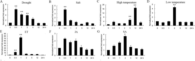 Changes in GmERF75 expression in response to abiotic stress treatments and exogenous hormones. The kinetics of GmERF75 mRNA accumulation were evaluated for hypocotyl and root of 14-day-old seedlings subjected to the abiotic stress treatments drought ( a ), NaCl ( b ), high temperature ( c ), and low temperature ( d ), or treated with the exogenous hormones ethylene (ET, e ), jasmonate (JA, f ), and salicylic acid (SA, g ). The total RNA was extracted 0, 0.5, 1, 2, 5, 12, and 24 h after each treatment and used for qRT-PCR. The data was shown as the means±SD of three biological replicates