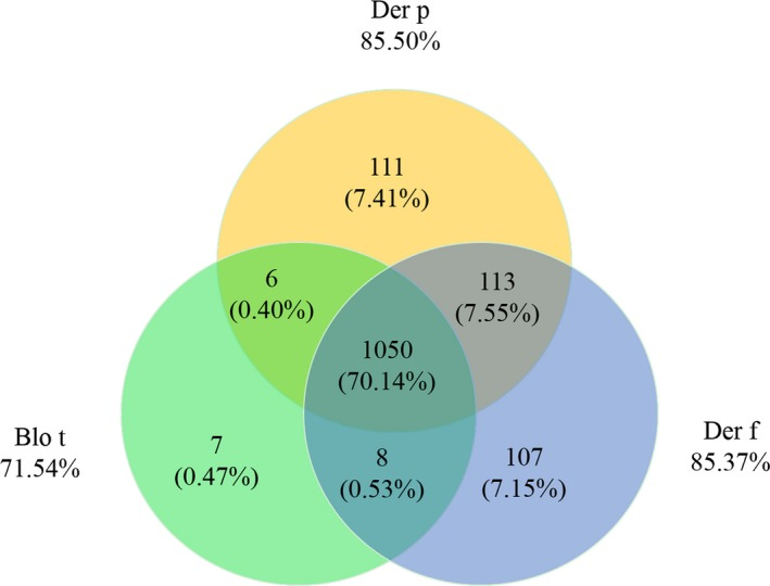 Pattern of sensitization among ImmunoCAP positive for Blo t, Der p, and Der f. The numbers (percentage) inside the Venn diagram show number (percentage) of patients who were sensitized to one or more mites. Blo t, Blomia tropicalis ; Der f, Dermatophagoides farinae ; Der p, Dermatophagoides pteronyssinus