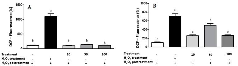 Results of intracellular ROS measurement in A549 ( A ) and IMR90 ( B ) cells by spectrofluoremetry. Treatment = lyophilized marigold extract ( C. officinalis ) at 10–100 μg/mL. Quantitative data are the mean ± standard deviation. Different letters (a–c) comparing the treatments indicate significant differences ( p