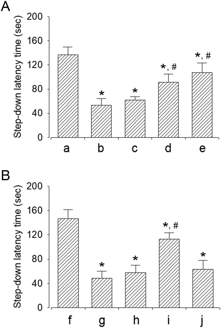 Effect of dexmedetomidine on short-term memory. A: Evaluation of dose-dependent effects of dexmedetomidine on short-term memory ( n = 8). (a) Control group, (b) sleep deprivation group, (c) sleep deprivation and 5 μg/kg dexmedetomidine-treated group, (d) sleep deprivation and 10 μg/kg dexmedetomidine-treated group, (e) sleep deprivation and 20 μg/kg dexmedetomidine-treated group. B: Evaluation of effect of dexmedetomedine antagonist on short-term memory ( n = 8). (f) Control group, (g) sleep deprivation group, (h) sleep deprivation 250 μg/kg atipamezole-treated group, (i) sleep deprivation and 20 μg/kg dexmedetomidine-treated group, (j) sleep deprivation and 250 μg/kg atipamezole-treated with 20 μg/kg dexmedetomidine-treated group. * represents P