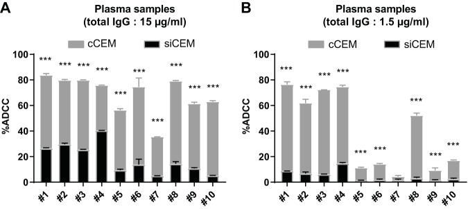 Anti-Env Abs in HIV + plasma samples preferentially support ADCC of cCEM cells over siCEM cells. siCEM cells labeled with CFSE and PKH26 were combined 1:1 with cCEM cells labeled with CFSE only before opsonization with 10 individual HIV + plasma samples and were cocultured with NK effector cells. The y axes show percent ADCC as measured by the superimposed frequencies of AnV + siCEM cells (CFSE + PKH26 + ; black histograms) and cCEM cells (CFSE + PKH26 − ; gray histograms) with 15 μg/ml (A) and 1.5 μg/ml (B) of total IgG from each plasma sample used to opsonize target cells. Error bars indicate SD of results from replicates, and significance was determined by comparing the percentages of ADCC between siCEM cells and cCEM cells for each individual plasma sample (***, P