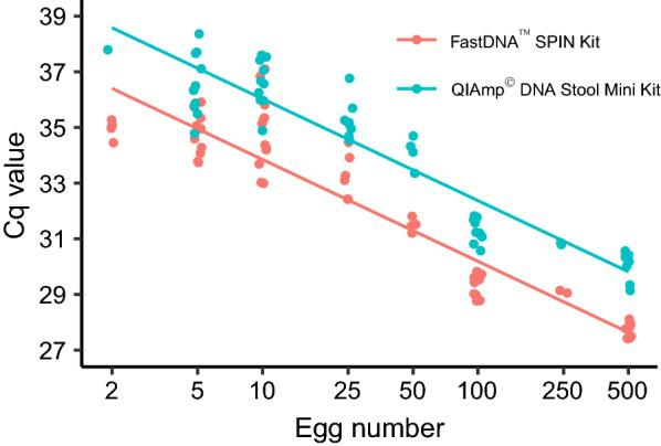 Comparison of two DNA extraction kits to extract DNA from Taenia pisiformis eggs suspended in negative produce wash. Quantification cycle (Cq) values for each PCR are depicted as individual dots and a regression line is shown for each extraction kit. Cq values for the FastDNA™ SPIN Kit for Soil were significantly lower than for the QIAamp® DNA Stool Mini Kit ( P