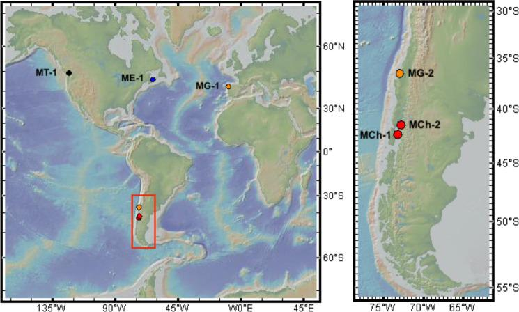 Locations and codes for the six sampling sites. Codes for locations can be found in Table S5 . Color indicates species as determined using the PCR-RFLP Me15-16 Aci I assay: red for Mytilus chilensis , orange for Mytilus galloprovincialis , blue for Mytilus edulis and black for Mytilus trossulus . Background topographic map from GeoMapApp ( http://www.geomapapp.org ).