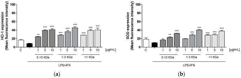Effect of the three fractions (1–10 µg/mL) on HO-1 ( a ) and SOD ( b ) expression in LPS + IFN-stimulated IEC-6 cells. The three tested fractions significantly increased HO-1 ( p