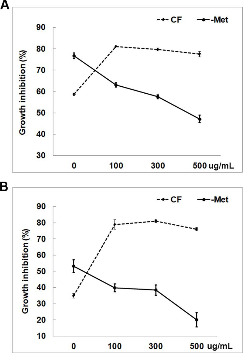 Proteinase K treatment to evaluate the contribution of secreted proteins in inhibiting bacterial growth. Degrees of growth inhibition of (A) LR1 and (B) LR3 by CF and–Met of T . harzianum after Proteinase K treatment are shown. Values shown correspond to the mean ± SE of data from three replicates.