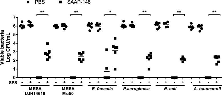 <t>SPS-neutralization</t> in efficacy tests of SAAP-148 against gram-positive and gram-negative bacteria. Ninety μL of 10 7 CFU/mL MRSA (LUH14616 and Mu50), E. faecalis (ATCC 29212) , P. aeruginosa (PAO1; ATCC BAA47), E. coli (ATCC 35218) and A. baumannii were exposed to 10 μL of 1% (wt/v) SAAP-148 in <t>PBS</t> or PBS for 30 min. Subsequently, samples were homogenized in 500 μL of PBS with or without 0.05% (wt/v) SPS. The means and SD of six independent experiments performed in duplicate are shown. Results are expressed as the number of surviving bacteria in log10 CFU/mL. * indicates significant difference as compared to the samples without SPS (* p