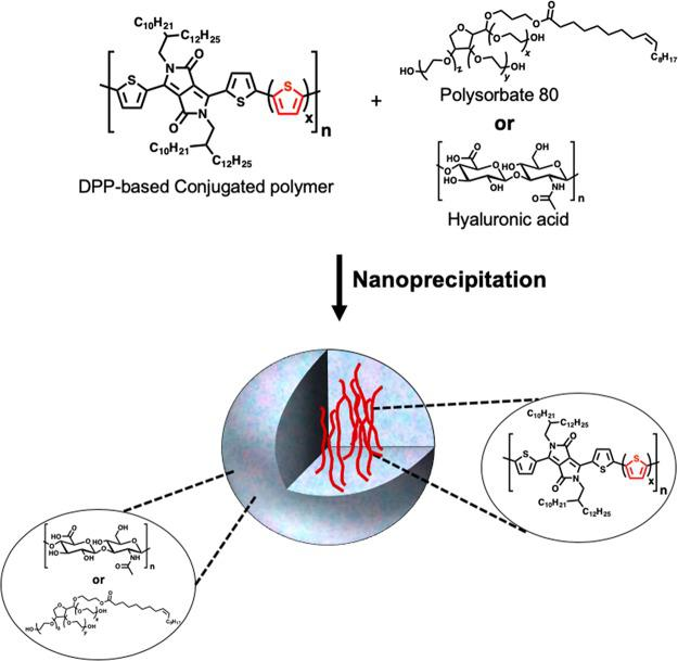 Formation of DPP-based conjugated polymer nanoparticles (SPNs) with HA or polysorbate 80 (Tween 80) through nanoprecipitation.