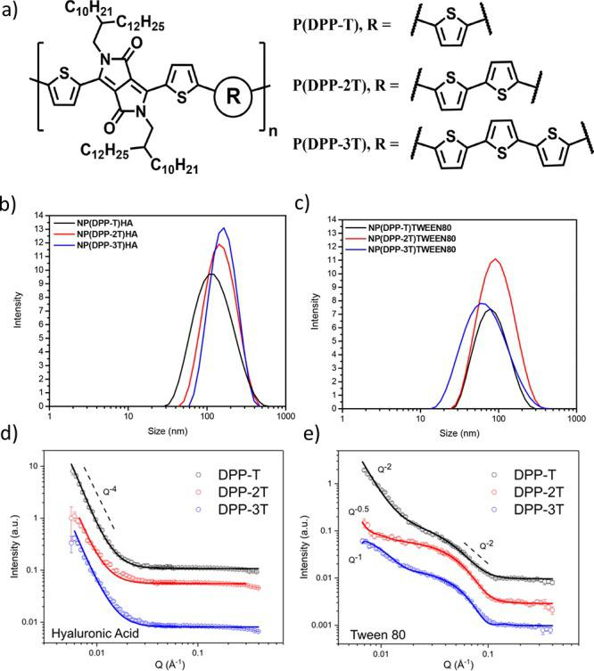 (a) Structures of the investigated semiconducting polymers P(DPP-T) , P(DPP-2T) , and P(DPP-3T) ; size distributions of SPN samples prepared from (b) HA and (c) Tween-80 as measured by DLS. SANS data of SPNs in D 2 O prepared from (d) HA and (e) Tween-80. Solid lines represent fits. Dashed lines show Q -dependence of the sample scattering. I ( Q ) scattering curves were vertically offset using scaling factors for clarity of presentation.