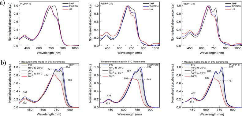 (a) UV–vis absorption spectra of DPP-based polymers in tetrahydrofuran (THF) solution before and after nanoprecipitation with HA and Tween 80 and (b) variable temperature UV–vis (VT–UV–vis) spectra of the conjugated polymers in chlorobenzene. Spectra are obtained by slowly cooling solutions from their maximum temperature in a controlled manner.