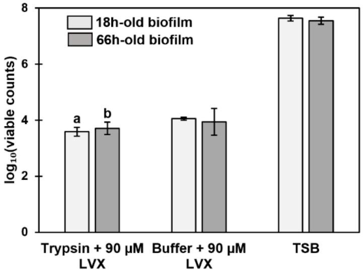 Viability of 18- and 66-h-old S. aureus ATCC 25923 biofilms treated with trypsin and 90 µM levofloxacin (LVX), <t>triethylammonium</t> bicarbonate buffer (TEAB) (trypsin buffer) and 90 µM levofloxacin or tryptic soy broth (TSB). The number of viable cells is expressed as log 10 values of CFU (mL·cm 2 ) −1 . The statistical analysis was performed using unpaired t -tests with Welch's correction. Highly significant change in viability ( p