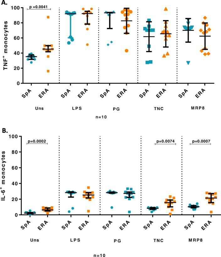 TNF and IL-6 producing monocytes in SFMC in SpA vs ERA patients. Scatter plots representing frequency of TNF and IL-6 producing monocytes in SFMC in SpA (10) and ERA (10) patients in response to exogenous and endogenous TLR4 ligands analysed via flow cytometry. Each dot represents an individual sample. Horizontal line represents median. 10 6  SFMC/ml in complete culture medium was used.  a . Frequency of TNF producing monocytes ( b ). Frequency of IL-6 producing monocytes.  WB:  whole blood,  SpA:  Spondyloarthropathy,  ERA:  enthesitis related arthritis  Uns - unstimulated,  LPS-  Lipopolysaccaride,  PG-  peptidoglycan,  TNC-  Tenascin-C and  MRP8- Myeloid related protein 8,  TNF:  tumor necrosis factor,  IL-6:  Interleukin-6
