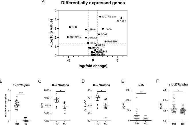 IL-27Ralpha expression. ( A ) Volcano plot of differentially expressed genes in T1D patients compared to healthy controls. Analysis of gene arrays was performed on sorted myeloid dendritic cells (mDCs) from T1D patients (n = 20) and healthy controls (n = 10). ( B ) IL-27Ralpha expression validation by RT PCR normalized to GADPH . Analysis was performed on sorted mDCs from 14 T1D patients and 7 healthy donors (HD). Surface expression of IL-27Ralpha on mDC expressed as ( C ) MFI and (D) percentage of IL-27Ralpha + CD11c + mDCs detected by flow cytometry in 9 T1D patients and 6 HD. ( E ) Serum levels of <t>IL-27</t> in 30 T1D patients and 23 healthy donors detected by Luminex. ( F ) Serum levels of soluble IL-27Ralpha in T1D patients (n = 40) and healthy donors (n = 32) detected by ELISA. Statistical analysis was performed using the Mann-Whitney unpaired t -test. Values of p