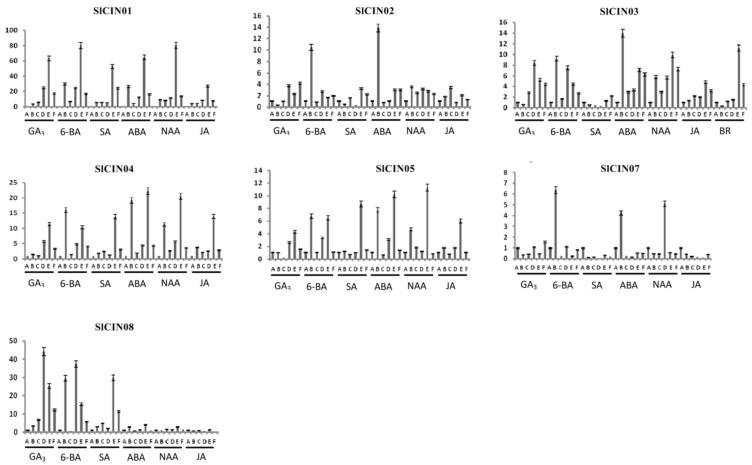 Expression profiles of tomato CIN genes in response to phytohormone treatments. Expression levels of these CINs under various phytohormone treatments were detected using qRT-PCR. Bar graphs indicate relative expression values of each CIN gene after phytohormone treatment. Leaf samples were collected at 0, 1.5, 3, 6, 12 and 24 h after treatment, respectively. Each time point of sample collection represented by A, B, C, D, E, and F, respectively. The mean of three biological replicates was selected for analysis.