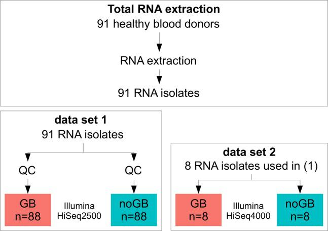 Study design to test the performance of Lexogen's commercially available globin-cDNA blocking method that was applied during NGS RNA library preparation (thus preserving RNA quality of the original sample). Total RNA was isolated from whole blood samples of 91 healthy donors (see Methods). For data set 1, two libraries were prepared from all 91 RNA isolates, i.e. one with Lexogen's Globin Block (GB) and one without (noGB), followed by sequencing on the HiSeq2500 instrument. After quality control (QC), 88 pairs of GB/noGB samples were available for benchmark purposes. For data set 2, 8 GB and noGB samples from Data Set 1 were re-sequenced on a HiSeq4000 to assess technical reproducibility for GB samples.
