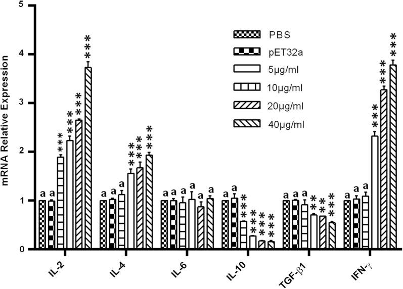 Relative expression of multiple cytokines in goat PBMCs stimulated by rHcMTF-12. Cells were incubated with rHcMTF-12 for 48 h, and the mRNAs encoding IL-2, IL-4, IL-6, IL-10, TGF-β1 and IFN-γ were quantified by real-time PCR. The significant level was set at * P