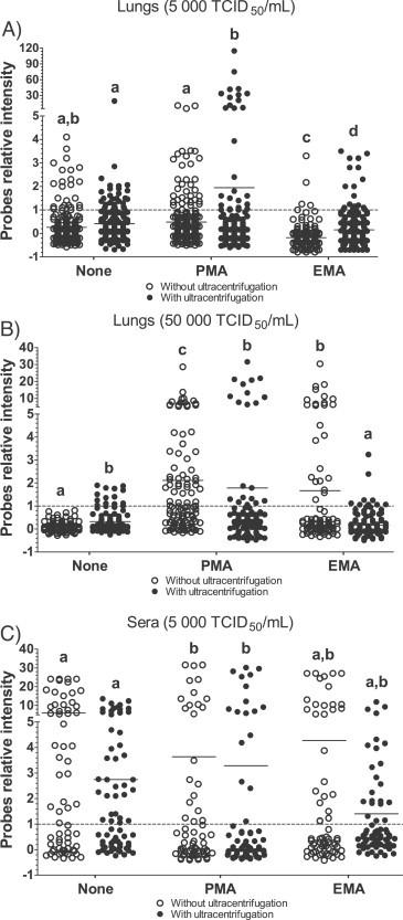 PRRSV detection in spiked samples by DNA array following EMA or PMA treatments. DNA array probes relative intensity from A) lung tissue homogenates spiked with PRRSV (5000 TCID 50 /mL), B) lung tissue homogenates spiked with PRRSV (50,000 TCID 50 /mL) and C) serum samples spiked with PRRSV (5000 TCID 50 /mL). Dots are relative fluorescence intensity mean values of two identical probes gathered from two to seven independent experiments (each experiment consisting of a duplicate of 34 PRRSV specific probes) and was calculated as followed: [(PFL − BFL)/BFL] where PFL represents a PRRSV probe fluorescence intensity and BFL represents the basal fluorescence level (negative control probe fluorescence). The results of each independent experiment (trial) are illustrated in Supplemental Fig. 2. The line represents the fluorescence mean value of all probes. Open dot circles represent results obtained from samples processed without an ultracentrifugation step while filled dot circles represent results obtained from samples treated with an ultracentrifugation step. Labeling of two sets of data with different letters indicates that these two sets of data are statistically different ( P