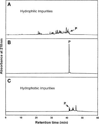 Pooled fractions following reversed-phase (RP)-high-performance liquid chromatography (HPLC) purification of 100 mg of crude synthetic 26-residue amphipathic \documentclass[12pt]{minimal} \usepackage{amsmath} \usepackage{wasysym} \usepackage{amsfonts} \usepackage{amssymb} \usepackage{amsbsy} \usepackage{mathrsfs} \usepackage{upgreek} \setlength{\oddsidemargin}{-69pt} \begin{document}$\alpha$\end{document} -helical antimicrobial peptide. Column, conditions, and peptide sequence described under Subheading 3.6.1 . Analytical RP-HPLC elution profiles of pooled fractions: (A) pool of all fractions containing hydrophilic impurities, (B) pool of all fractions containing pure product, denoted P, and ( C) pool of all fractions containing hydrophobic impurities.