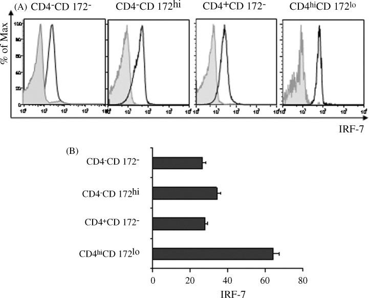 Constitutive expression of IRF-7 by porcine PBMC subsets. Stained porcine PBMC were virtually separated into CD4 − CD172 − , CD4 − CD172 hi , CD4 + CD172 − , and CD4 hi CD172 lo subsets in CD4 versus CD172 histograms (comparable to Fig. 1 A, PBMC panel). (A) Fluorescent intensities of electronically gated PBMC subsets reacting with anti-IRF-7 polyclonal IgG (clear areas) or a non-specific counterpart (shaded areas). Prior to analysis, areas defining each respective subset in the two histograms were made spatially identical. (B) Mean fluorescence intensities (MFIs) of electronically gated, IRF-7 stained PBMC subsets. Vertical bars represent the mean ± SEM of a representative experiment ( n = 3).