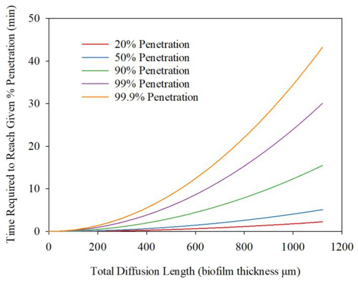 Estimated time required for diffusion out of H 2 S from biofilm.