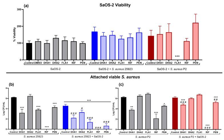 """Effect of the two DHA derivatives ( DHA1 and DHA2 ), the flavonoid-derivative ( FLA1 ), and two control antibiotics ( RIF and PEN ) on the competitive colonization assay performed in titanium coupons. ( a ) Results corresponding to the viability of SaOS-2 cells when cultured on titanium coupons alone (SaOS-2, grey bars), or co-cultured with S. aureus ATCC 25923 (SaOS-2 + S. aureus 25923, blue bars), or P2 clinical S. aureus strain (SaOS-2 + S. aureus P2, red bars); ( b , c ) Results corresponding to the effects on attached viable S. aureus measured when the ATCC 25923 ( b ) or P2 clinical S. aureus strain ( c ) was used. Percentage of viability of SaOS-2 cells was calculated with respect to untreated controls after 24-h incubation on titanium coupons, using glow luminescence signal resulting from ATP production by viable SaOS-2 cells. Viable counts (log of CFU/mL) of S. aureus ATCC 25923 or the clinical strain P2 were also measured after 24-h incubation on titanium coupons when co-cultured with SaOS-2 cells. """"*"""" represents differences with the corresponding monoculture control and """"#"""" represents differences with the corresponding co-culture controls (* p"""