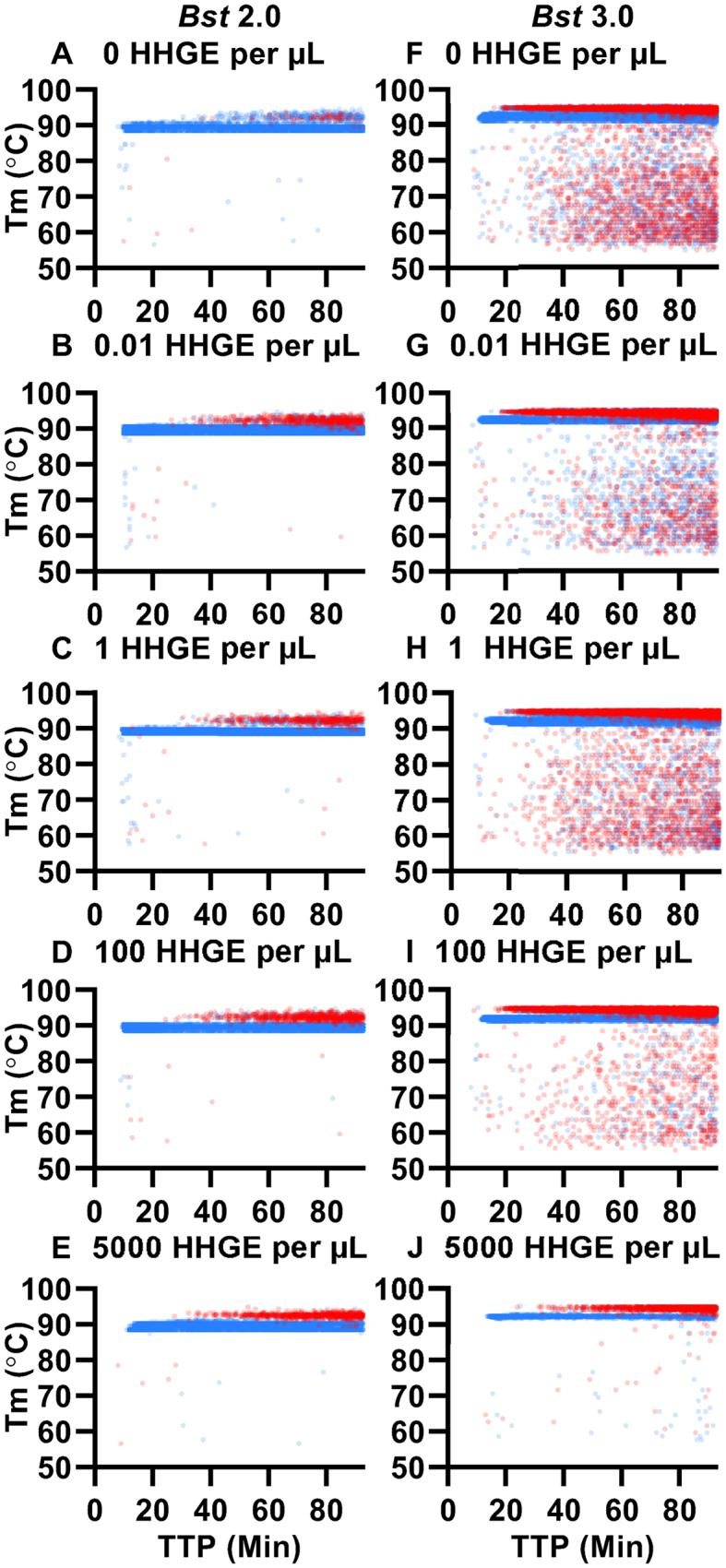 Impacts of host (human) genomic DNA in human haploid genome equivalents (HHGE) on specific and non-specific amplification. Plots of T m as a function TTP using Bst 2.0 at ( A ) 0 HHGE per μl; ( B ) 0.01 HHGE per μL, ( C ) 1 HHGE per μl, ( D ) 100 HHGE per μl and ( E ) 5000 HHGE per μl; and using Bst 3.0 at ( F ) 0 HHGE per μl, ( G ) 0.01 HHGE per μl, ( H ) 1 HHGE per μl, ( I ) 100 HHGE per μl ( J ) 5000 HHGE per μl in the presence of template (blue) and NTC (red). N = 3 for all conditions, except Bst 3.0 at 0 and 100 HHGE per μl in the presence of template, where N = 6.