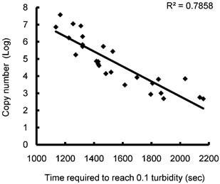 Relationship of turbidity with copy number of the 2009 H1N1 influenza A virus. Real‐time turbidity was detected with a <t>Loopamp</t> real‐time turbidimeter. The time required to reach the threshold turbidity level (0.1) (threshold time) were plotted against the copy numbers of the samples determined by real‐time RT‐PCR.