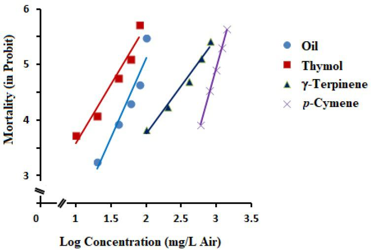 Concentration-response lines of fumigant mortality of Trachyspermum ammi essential oil and its three main constituents (thymol, γ-terpinene, and p -cymene).