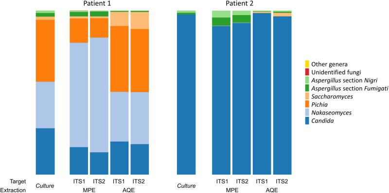 Taxa plots summarizing the relative abundances of fungal genera or sections identified in the respiratory samples of 2 patients (P1 and P2) using culture and ITS targeted amplicon sequencing. The sputa of P1 and P2 were spiked with 10 5 CFU/ml of Aspergillus section Nigri and Aspergillus section Fumigati . For ITS targeted amplicon sequencing analysis, DNA was extracted from the respiratory samples using 2 protocols: the automated QIAsymphony extraction [AQE] with DSP DNA midi kit, and the manual PowerSoil® MoBio extraction [MPE]; and amplified by ultra-deep sequencing (MiSeq®, Illumina) using two ITS targets (ITS1 and ITS2). Methods used the same starting quantities of samples and the final volumes were equal. Metagenomic analysis revealed 5 extremely low-represented genera (overall relative abundance