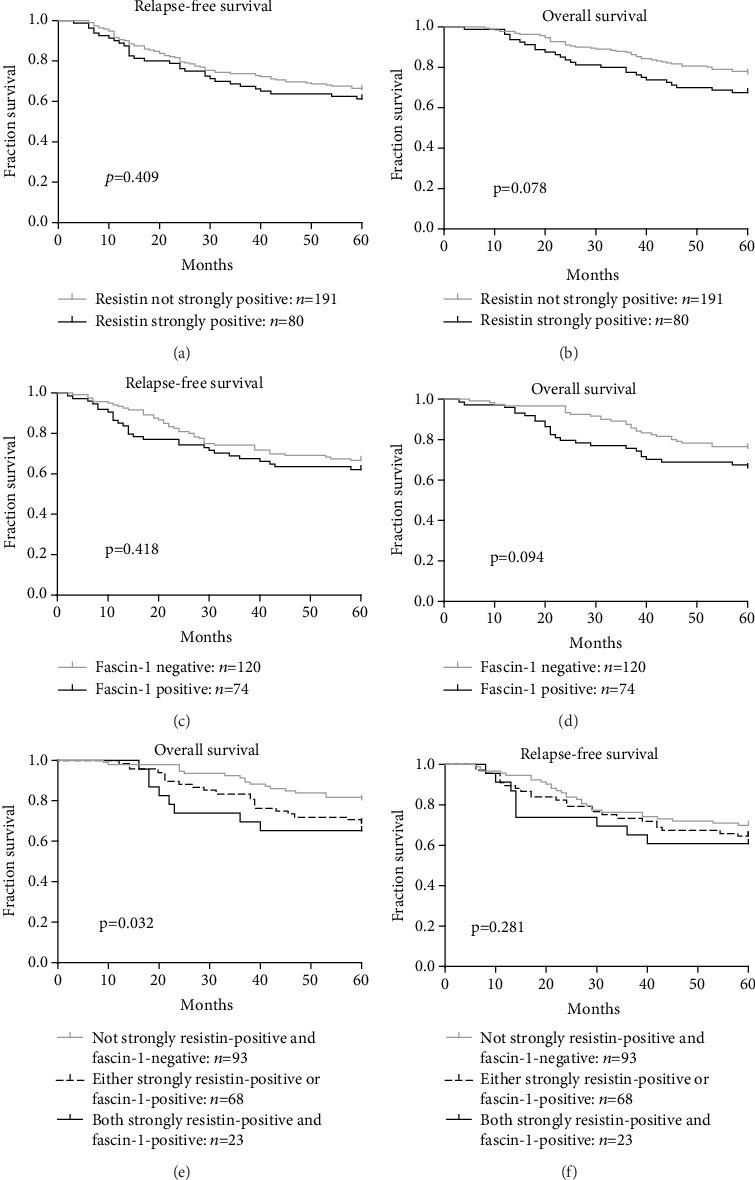 Resistin expression was associated with the survival of patients with colorectal cancer. (a, b). The associations of resistin expression with relapse-free survival (RFS) (a) and overall survival (OS) (b) were analyzed. (c, d). The associations of <t>fascin-1</t> expression with RFS (c) and OS (d) were analyzed. (e, f). Kaplan-Meier curves for OS (e) and RFS (f) of combined high expression of resistin and fascin-1 in colorectal cancer. P values were calculated using the Mantel-Cox log-rank test.