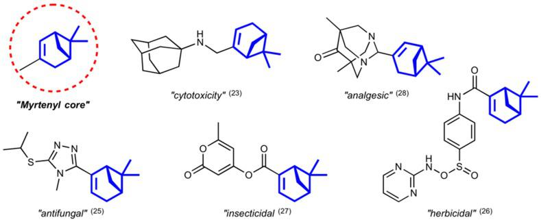 Relevant bioactive Myrtenal hybrid compounds and structure of Myrtenyl core.