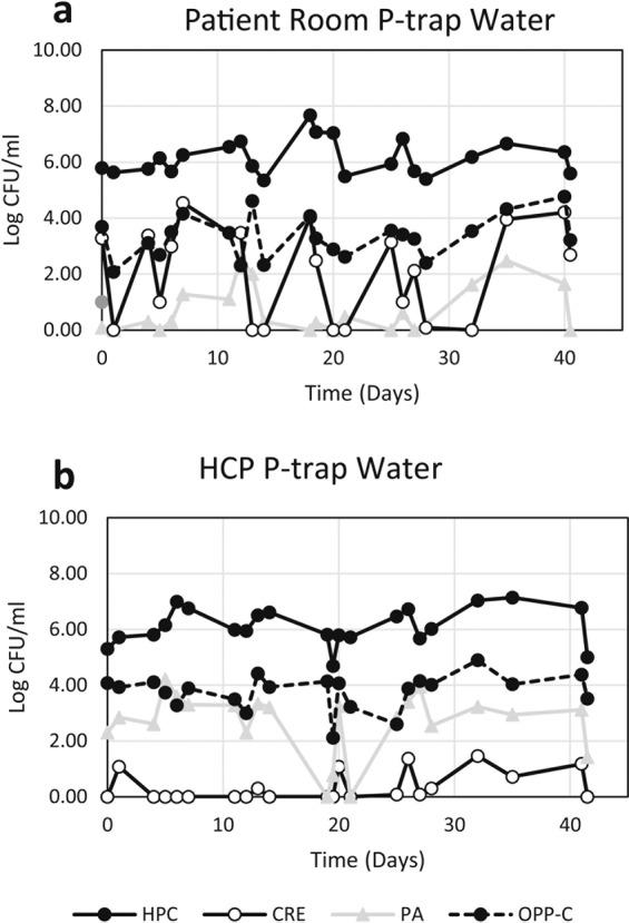 Concentration of target organisms from 4 times weekly p-trap water samples from one patient room sink ( a ) and one HCP sink ( b ) over the six-week sample period. HPC – heterotrophic plate count, CRE – carbapenem-resistant Enterobacteriaceae, PA – Pseudomonas aeruginosa , OPP-C – opportunistic pathogens capable of growth on a cefotaxime-containing medium.