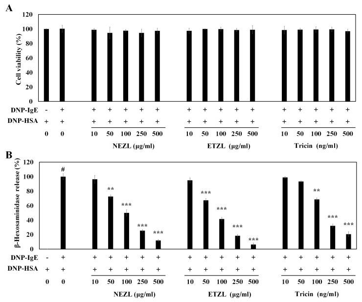 Effects of tricin and enzyme-treated Zizania latifolia extract (ETZL) on cell viability and degranulation in IgE-stimulated rat basophilic leukemia (RBL-2H3) cells. ( A ) Cell viability; ( B ) β-hexosaminidase. RBL-2H3 cells were seeded in a 24-well plate (1 × 10 5 cells/well) overnight at 37 °C, and further incubated with anti-dinitrophenyl (DNP)-IgE (0.05 μg/mL) for 24 h. The IgE-sensitized cells were preincubated with varying concentrations of tricin (10–500 ng/mL) or ETZL (10–500 μg/mL) for 1 h, and subsequently stimulated with dinitrophenyl-human serum albumin (DNP-HSA) (0.1 μg/mL) for 4 h. All values are the mean ± S.E.M. of three independent experiments. Values of ** p