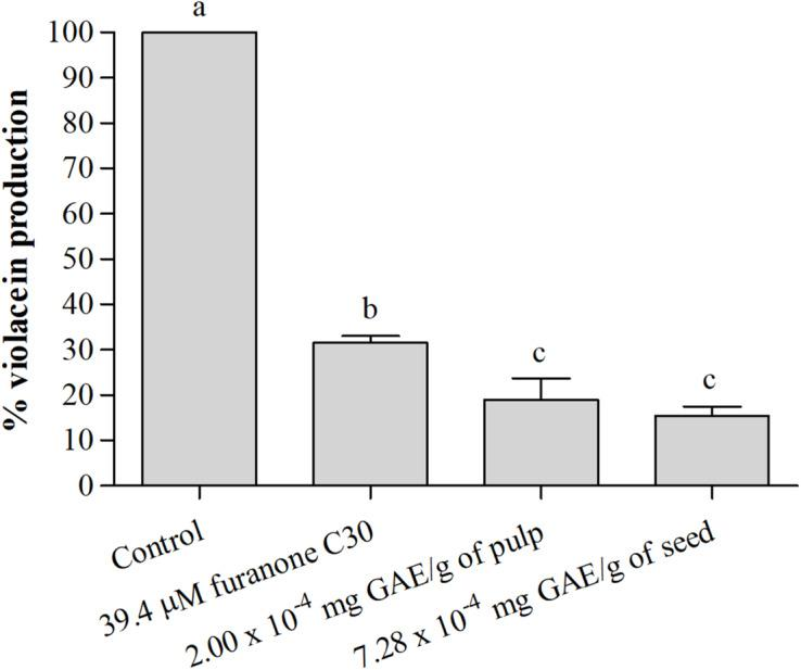 Percentage (%) of violacein production by C. violaceum ATCC 12472 in the absence and presence of the active films incorporating pulp and seed phenolic extracts of S. cumini (L.) Skeels. Means followed by different letters differ statistically ( p
