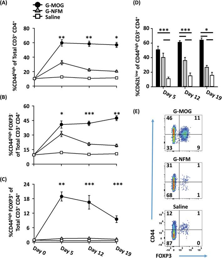 GMCSF-MOG was superior to GMCSF-NFM for eliciting persistence of a CD44 high Tcon phenotype. a – d 2D2-FIG mice were vaccinated with 4 nmol of GMCSF-MOG ( n = 5), 4 nmol of GMCSF-NFM ( n = 5), or with saline ( n = 5). PBMCs were analyzed on days 5, 12, and 19 for CD3, CD4, CD44, and FOXP3 expression. a – c The day 0 time point was derived from the CD44 expression of CD3 + CD4 + T cells from naïve 2D2-FIG mice ( n = 23). Shown are percentages of a CD44 high T cells, b CD44 high Tcons, and c CD44 high Tregs of gated CD3 + CD4 + T cells on days 0, 5, 12, and 19. Shown in d are the percentage of CD62L low T cells of gated CD44 high CD3 + CD4 + T cells on day 5, 12, and 19. Shown in e are representative dot plots of CD44 ( y -axis) and FOXP3 ( x -axis) expression of CD4 + CD3 + T cells on day 5. These data are representative of three independent experiments. Statistical significance was analyzed using a one-way ANOVA. Shown in a , b and d are significant differences between the groups GMCSF-MOG, GMCSF-NFM, and saline, and c statistical differences comparing GMCSF-MOG treatment to both GMCSF-NFM and saline. ( *p