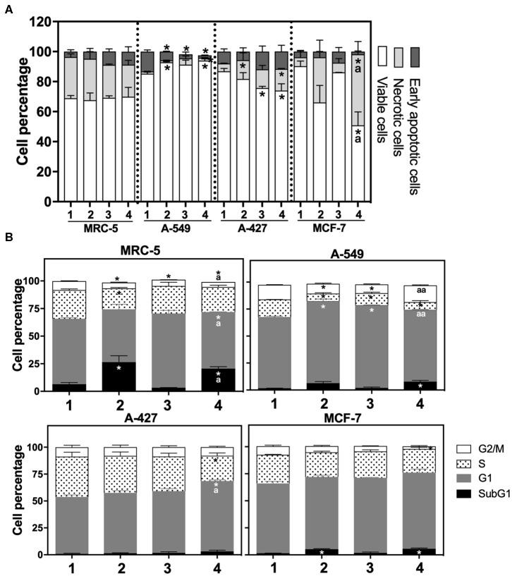 (A) Percentage of viability, necrosis and early apoptosis in lung cancer and fibroblast cells determined by AnnexinV/7-AAD assay. (B) Cell cycle profile of <t>MRC-5</t> fibroblast cells, A-549, A-427, and MCF-7 tumor cells. ( 1 ) Normoxia, pH 7.2; ( 2 ) Normoxia, pH 6.2; ( 3 ) Hypoxia, pH 7.2 and ( 4 ) Hypoxia, pH 6.2. Bars represent mean+SEM. *p