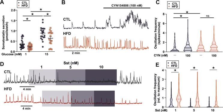 HFD results in changes in SST secretion. A. <t>Somatostatin</t> (Sst) secretion from islets isolated from control (CTL) and high-fat diet (HFD) fed mice (n = 16 replicates from 5 HFD and 5 CTL mice). t -test; ∗ P