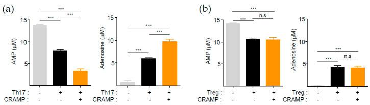 CRAMP-induced CD73 is functional. ( a , b ) <t>AMP</t> and adenosine quantification assay. In vitro-differentiated Treg and Th17 cells were cultured for 2 or more days as indicated as Figure 2 d. Tregs (1 × 10 5 ) or Th17 cells (1 × 10 5 ) were incubated with 1 mM AMP for 1 h. AMP and adenosine were quantified by <t>LC-ESI-MS/MS.</t> Treg cells ( n = 3), Th17 cells ( n = 4). *** p