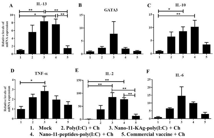 Cytokine and transcription factor mRNA expression in the tracheobronchial lymph nodes of pigs vaccinated with Nano-11 or commercial influenza vaccine and virus challenged. The mRNA expression levels of ( A ) IL-13; ( B ) GATA3; ( C ) IL-10; ( D ) TNF-α; ( E ) IL-2; and ( F ) IL-6 was determined by qRT-PCR. Data represent the mean value of four to five pigs ± SEM. Statistical analysis was carried out using one-way analysis of variance followed by Tukey's post hoc comparison. Asterisk refers to statistical difference between the two indicated groups (* p