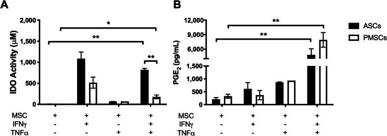 Direct stimulation of canine ASCs and PMSCs leads to production of IDO and PGE 2 . Canine adipose-derived MSCs ( ASCs ) and placenta-derived MSCs ( PMSCs ) secrete increased levels of indoleamine 2,3 dioxygenase (IDO) activity and prostaglandin E 2 (PGE 2 ) in response to direct stimulation using recombinant interferon gamma (IFNγ) and tumor necrosis factor alpha (TNFα ) . a IDO activity is directly proportional to the conversion of tryptophan to N -formyl kynurenine. ASCs and PMSCs increase IDO activity in response to dual stimulation with IFNγ and TNFα. IFNγ is the main contributor to the production of IDO. IFNγ- and TNFα-stimulated ASCs promote significantly higher levels of IDO activity as compared to PMSCs. b Canine ASCs and PMSCs produce comparable levels of prostaglandin E 2 (PGE 2 ) in response to dual stimulation with IFNγ and TNFα. TNFα is the major contributor to MSC-mediated PGE 2 production. Data presented as mean and standard error. * p