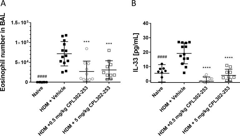 CPL302-253 is bocks eosinophil infiltration to the lungs and IL-33 expression in HDM induced asthma mouse model. Balb/c mice were immunized by s.c. route with CFA mixed with HDM lyophilized extract or saline. On day 12, 13 and 14 the mice were administrated by i.n. route with CPL302-253 or saline. On day 14, 60 min after compound administration the animals were challenged by i.n. route with HDM in sterile saline or saline. On day 15 eosinophils number (A) and IL-33 concentration (B) were measured in BAL.