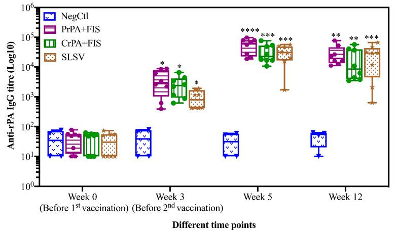 Anti-recombinant protective antigen (rPA) IgG-titres in vaccinated cattle presented as box and whisker plots. The cattle were vaccinated twice at week 0 and 3 with PrPA+FIS+Emulsigen-D ® /Alhydrogel ® adjuvants (n = 8), CrPA+FIS+Emulsigen-D ® /Alhydrogel ® adjuvants (n = 8), Sterne live spore vaccine (SLSV) (n = 8) and NegCtl (Emulsigen-D ® /Alhydrogel ® adjuvants) (n = 4) with sera collected before the vaccinations at week 0 and 3 as well as samples collected at week 5 and 12. Sera dilution started at a concentration of 1:100 and values