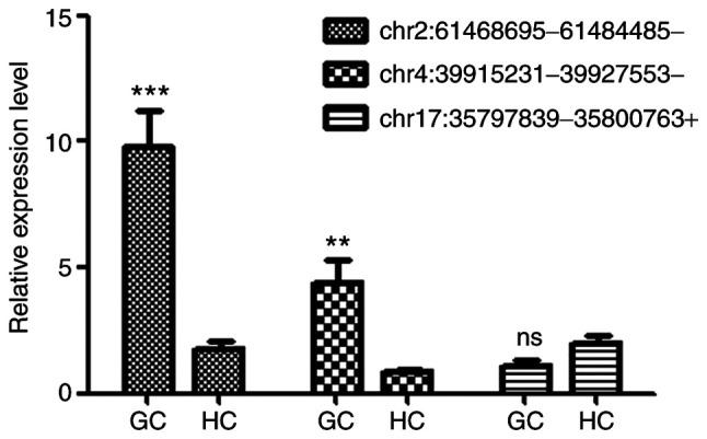RT-qPCR validation of the expression levels of randomly selected DE <t>circRNAs</t> (listed in Table I ) in exosomes from patients with GC and HC. <t>GAPDH</t> was used as internal standard. Expression level of each circRNA in sample HC190128-1 was set as 1. Data were expressed as the means ± standard deviation of the mean (n=5). **P