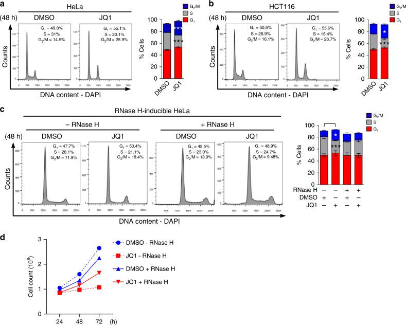 BRD4 inhibition leads to changes in the percentages of S and G2/M phase cells. Representative images and quantification of flow cytometry cell cycle plots in a HeLa, b HCT116, and c RNase H-inducible HeLa cells following 48 h of JQ1 treatment. Data presented as mean ± SEM ( n = 3 separate experiments). Significance assessed using ANOVA followed by Sidak's test in a (%S DMSO vs JQ1 ***Adjusted P = 0.0002; % G2/M DMSO vs JQ1 ***Adjusted P = 0.0004); b (%S DMSO vs JQ1 ***Adjusted P = 0.0003; % G2/M DMSO vs JQ1 *Adjusted P = 0.0188), and c (%S DMSO RNase H1 negative vs JQ1 RNase H1 negative ***Adjusted P = 0.0008; %G2/M DMSO RNase H1 negative vs JQ1 RNase H1 negative *Adjusted P = 0.0155). d Growth curves of RNase H-inducible HeLa cells in the absence (−RNase H) or presence (+RNase H) of DMSO or JQ1. Data presented as mean ( n = 2 independent experiments). Please refer to Supplementary Fig. 12 for flow cytometry gating strategy. Source data are provided as a Source data file.
