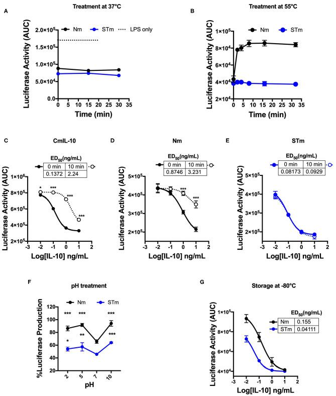 Biological stability of mouse IL-10 variants upon treatment at different temperatures and pH in vitro . (A) Area Under the Curve (AUC) of luciferase induction was measured after incubating 100 ng/mL Nm (black line) and STm (blue line) at 37°C in the time course. (B) Both Nm (black line) and STm (blue line) were treated at 55°C in time course before luciferase activity was measured as the area under the curve (AUC) after LPS-stimulated BMDMs of reporter mouse. (C–E) LPS-induced luciferase inhibition was measured after co-stimulated with either heat-treated at 55°C for 10 min (10 min) or untreated (0 min) of the commercial mouse IL-10 (CmIL-10), Nm and STm. CmIL-10 was used as a control in this experiment. The ED 50 was calculated as follow: (C) CmIL-10 heat-treated for (2.24 ng/mL) or untreated (0.137); (D) Nm heat-treated for (3.23 ng/mL) or untreated (0.8 ng/mL); (E) STm heat-treated for (0.09 ng/mL) or untreated (0.08 ng/mL). (F) Both Nm and STm at 100 ng/mL were pre-incubated with different pH buffers at 4°C for 24 h flowed by buffer exchange columns. BMDMs of the transgenic mouse then stimulated with LPS (10 ng/mL), and pH treated IL-10 (Nm and STm) at 10 ng/mL. The percentage of luciferase activities is relative to LPS treatment. The significant difference compared between pH treatments with neutral pH (pH7) of Nm and STm on LPS-stimulated cells *** p