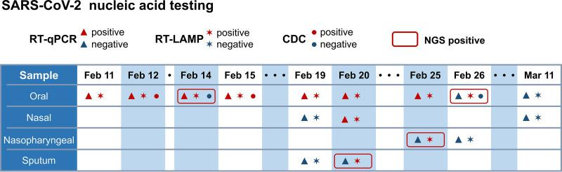 Time line of detection for an asymptomatic COVID-19 carrier.