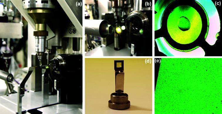 ( a ) SSX raster scan set up at BioMAX. A silicon nitride membrane is mounted on the goniometer head [see panel ( d ]. ( b ) Setup for SSX using <t>XtalTool</t> and a humidifier. ( c ) Crystals grown on a 24-well VDX-plate using XtalTool. ( d ) Omega goniometer head with mounted silicon nitride membrane sandwich. ( e ) 10 µm-sized crystals distributed on silicon nitride membranes.