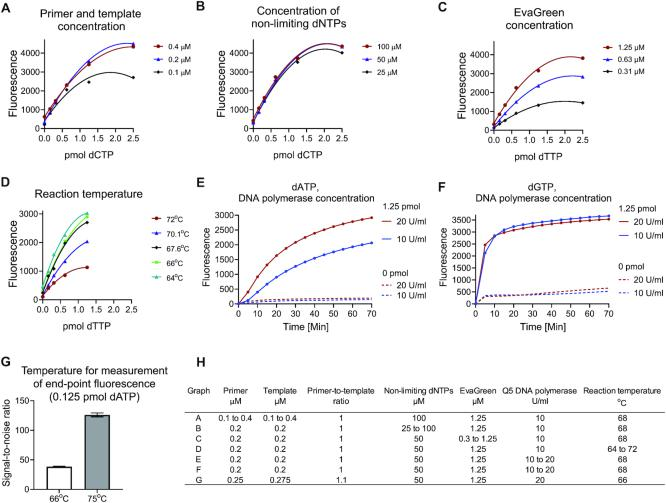 Optimization of EvaGreen- and Q5 DNA polymerase-based dNTP quantification. ( A–F ) Each critical reaction component and reaction temperature was varied, and the outcome evaluated. ( G ) The end-point fluorescence was measured at 66°C and after raising the temperature to 75°C to dissociate unused primers. ( H ) Assay conditions in graphs A to G. The standard curves were generated from the end-point baseline-corrected fluorescence values. The assessments were performed in triplicates. Supplementary Figure S3B shows the effect of increasing EvaGreen concentration above 1.25 μM. Supplementary Figure S3C-D shows the effect of different DNA polymerase concentrations on the dTTP and dCTP quantification.