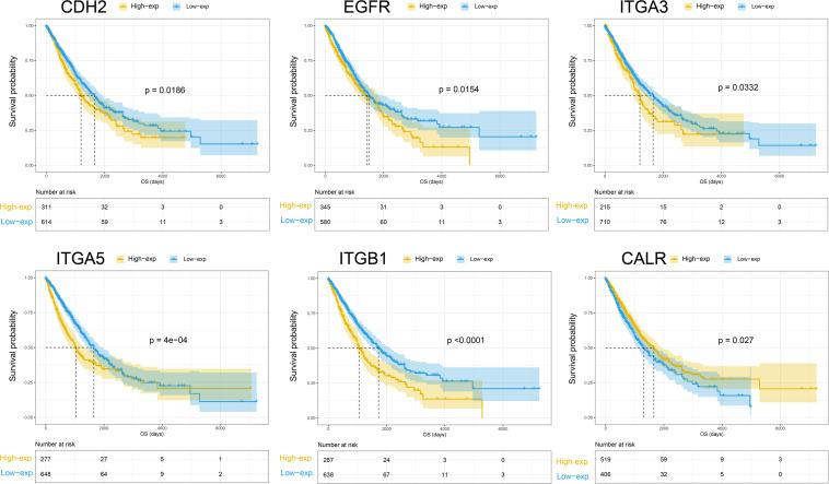 Kaplan-Meier curves of overall survival for CHE2, EGFR, ITGA3, ITGA5, ITGB1, and CALR.
